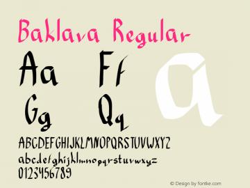 Baklava Regular Macromedia Fontographer 4.1 3/12/98 Font Sample