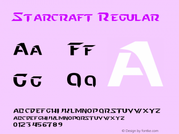 Starcraft Regular Version 2.00 January 14, 2011 Font Sample