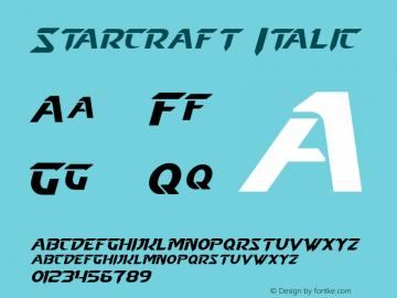 Starcraft Italic Version 1.50 December 17, 2013 Font Sample