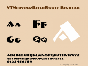 VTNervouzReichBoots Regular Macromedia Fontographer 4.1.2 3/13/96 Font Sample