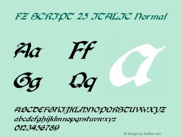 FZ SCRIPT 25 ITALIC Normal 1.000 Font Sample