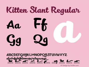 Kitten Slant Regular Version 1.000 Font Sample