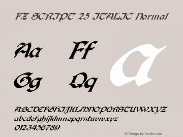 FZ SCRIPT 25 ITALIC Normal 1.0 Fri Apr 22 00:01:50 1994 Font Sample