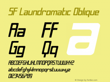 SF Laundromatic Oblique ver 1.0; 2000. Freeware for non-commercial use. Font Sample