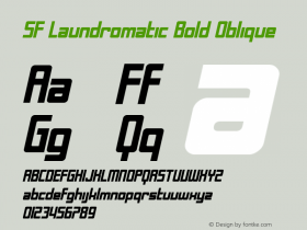 SF Laundromatic Bold Oblique ver 1.0; 2000. Freeware for non-commercial use. Font Sample