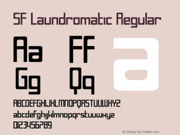 SF Laundromatic Regular ver 1.0; 2000. Font Sample