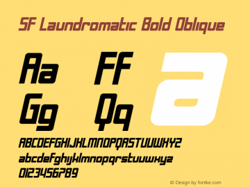 SF Laundromatic Bold Oblique ver 1.0; 2000. Font Sample