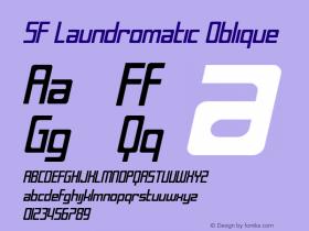 SF Laundromatic Oblique ver 1.0; 2000. Font Sample