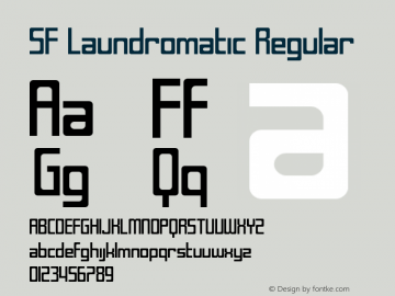 SF Laundromatic Regular ver 1.0; 2000. Freeware for non-commercial use. Font Sample