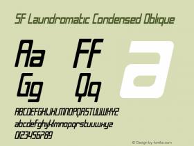 SF Laundromatic Condensed Oblique ver 1.0; 2000. Freeware for non-commercial use. Font Sample