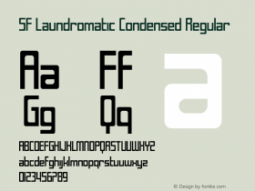 SF Laundromatic Condensed Regular ver 1.0; 2000. Freeware for non-commercial use. Font Sample