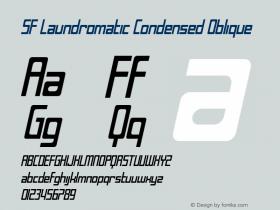 SF Laundromatic Condensed Oblique ver 1.0; 2000. Font Sample