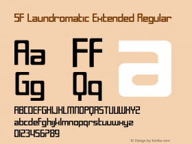 SF Laundromatic Extended Regular ver 1.0; 2000. Freeware for non-commercial use. Font Sample