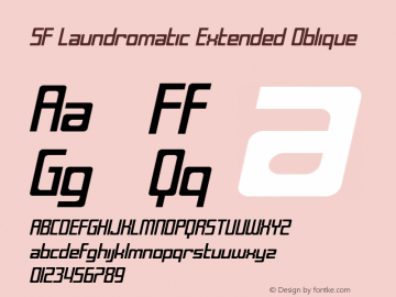 SF Laundromatic Extended Oblique ver 1.0; 2000. Freeware for non-commercial use. Font Sample
