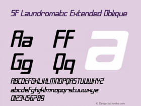 SF Laundromatic Extended Oblique Version 1.1 Font Sample
