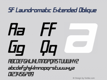 SF Laundromatic Extended Oblique ver 1.0; 2000. Font Sample