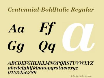 Centennial-BoldItalic Regular Altsys Metamorphosis:7/5/91 Font Sample