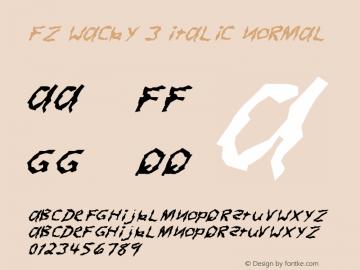 FZ WACKY 3 ITALIC Normal 1.000 Font Sample