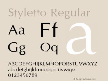 Styletto Regular Altsys Metamorphosis:19.10.1993 Font Sample