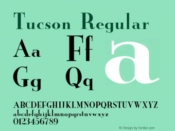 Tucson Regular Unknown Font Sample