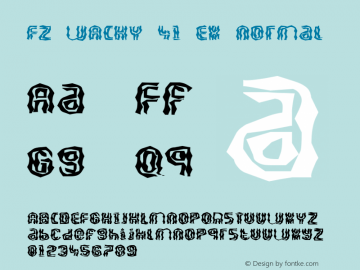 FZ WACKY 41 EX Normal 1.0 Thu May 05 17:03:55 1994 Font Sample