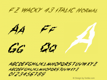 FZ WACKY 43 ITALIC Normal 1.000 Font Sample