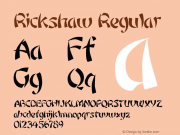 Rickshaw Regular Altsys Metamorphosis:6-07-92 Font Sample