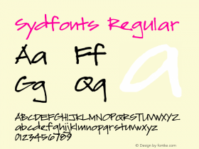 Sydfonts Regular 2009; 1.0, initial release Font Sample