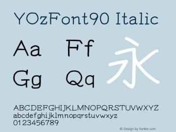 YOzFont90 Italic Version 12.18 Font Sample