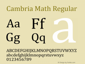 Cambria Math Regular Version 5.24 Font Sample