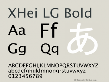 XHei LG Bold Unknown Font Sample