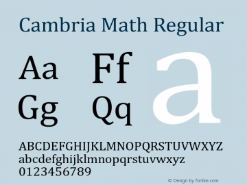 Cambria Math Regular Version 5.93 Font Sample