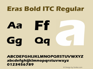 Eras Bold ITC Regular Version 1.01 Font Sample