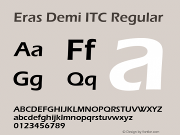 Eras Demi ITC Regular Version 1.00 Font Sample