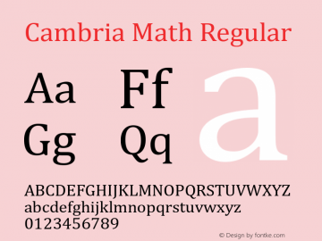 Cambria Math Regular Version 5.96 Font Sample