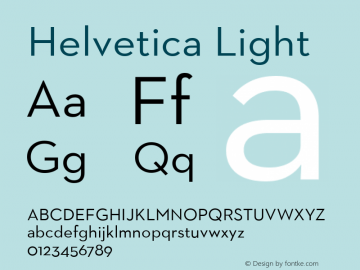 Helvetica Light 7.0d5e1 Font Sample