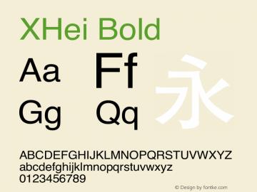 XHei Bold XHei Style.Boldface - Version 5.0 Font Sample