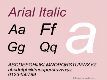 Arial Italic Version 2.60 Font Sample