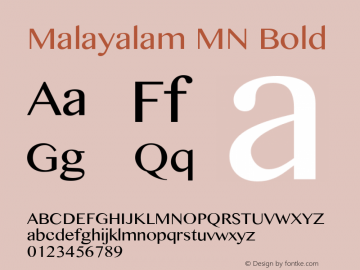 Malayalam MN Bold 7.0d3e1 Font Sample