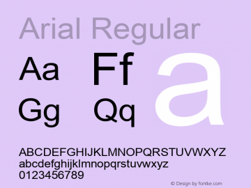 Arial Regular Version 3.00 Font Sample