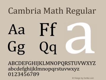 Cambria Math Regular Version 6.80 Font Sample