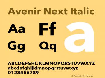 Avenir Next Italic 8.0d2e1 Font Sample