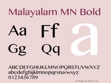 Malayalam MN Bold 7.0d4e1 Font Sample