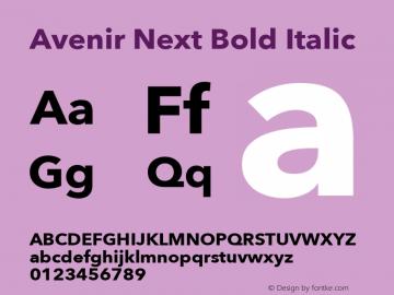 Avenir Next Bold Italic 8.0d5e5 Font Sample
