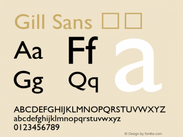 Gill Sans 斜体 9.0d2e1 Font Sample