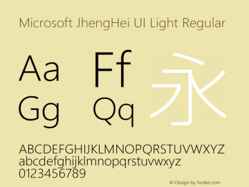 Microsoft JhengHei UI Light Regular Version 1.00 Font Sample