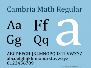 Cambria Math Regular Version 6.81 Font Sample