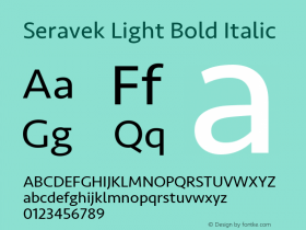 Seravek Light Bold Italic 9.0d1e1图片样张