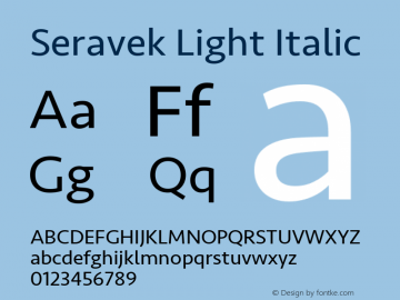 Seravek Light Italic 9.0d1e1 Font Sample