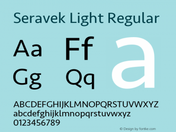 Seravek Light Regular 9.0d1e1 Font Sample